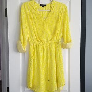 Yellow/white Honey Punch mini dress with pockets